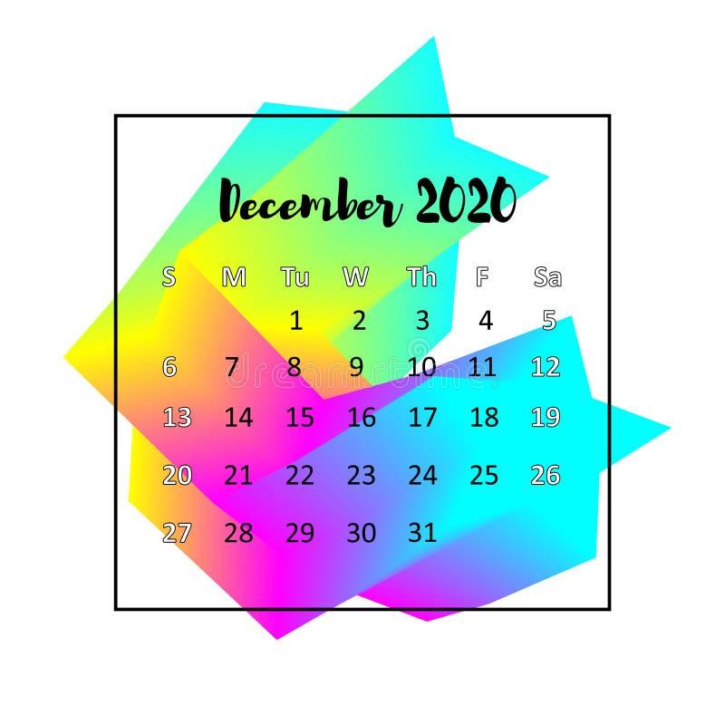 Concepto del extracto del dise?o de 2020 calendarios En diciembre de 2020 stock de ilustración