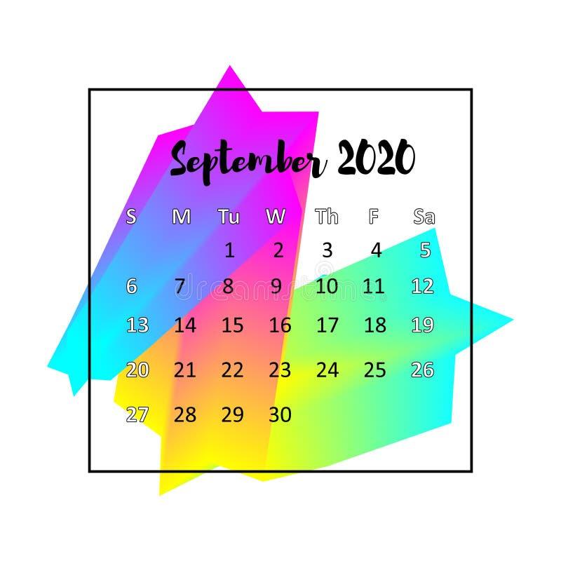 Concepto del extracto del dise?o de 2020 calendarios En septiembre de 2020 ilustración del vector