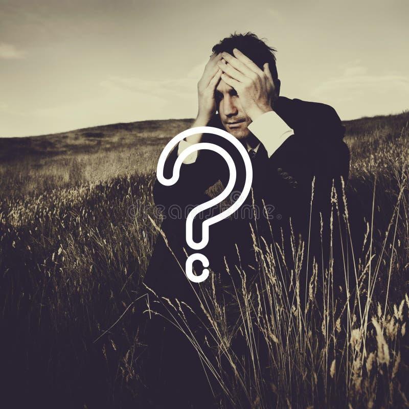 Concepto del FAQ de Mark Asking Confusion Thought Help de la pregunta imagen de archivo