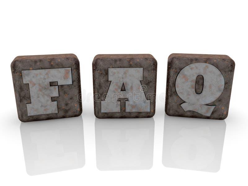 Concepto del FAQ en los cubos viejos del metal en el fondo blanco libre illustration