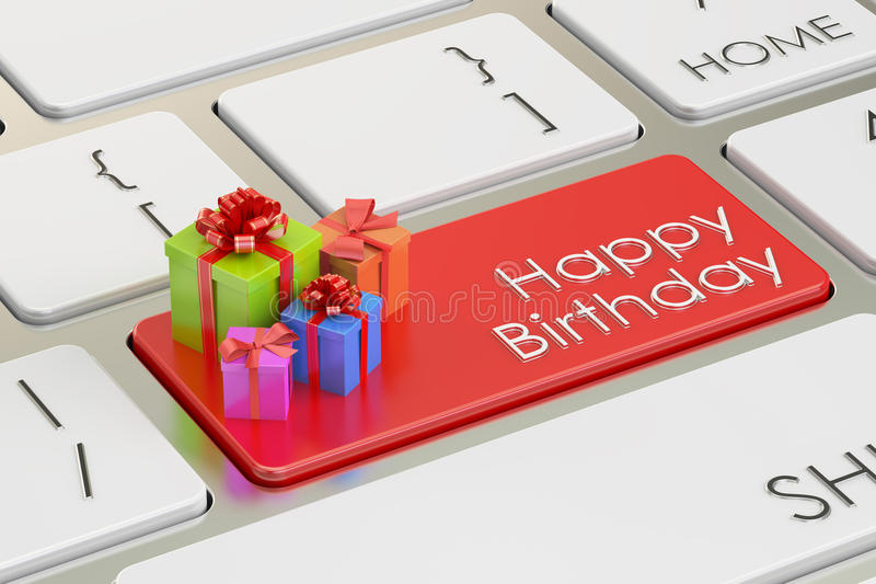 Concepto del feliz cumpleaños, llave roja en el teclado representación 3d libre illustration