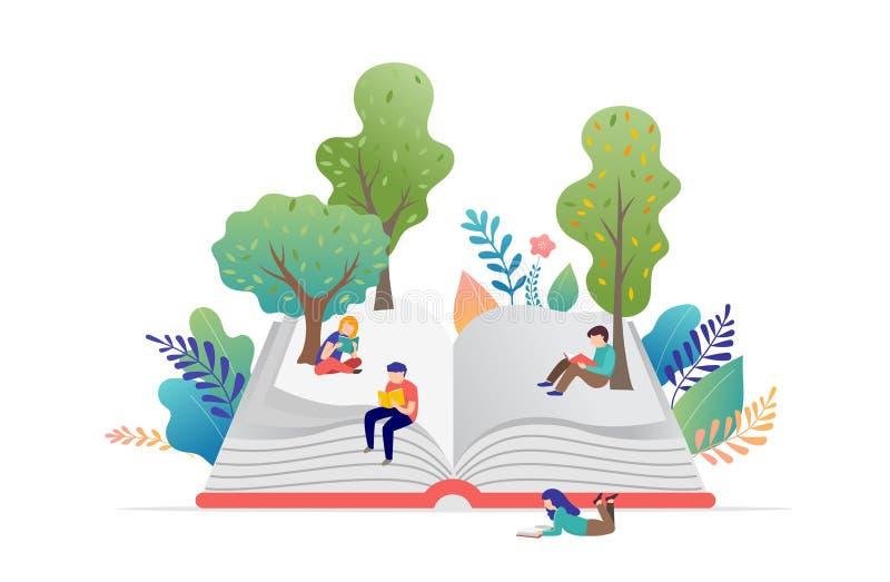 Concepto del festival del libro - grupo de gente minúscula que lee un libro abierto enorme Ejemplo, cartel y bandera del vector ilustración del vector