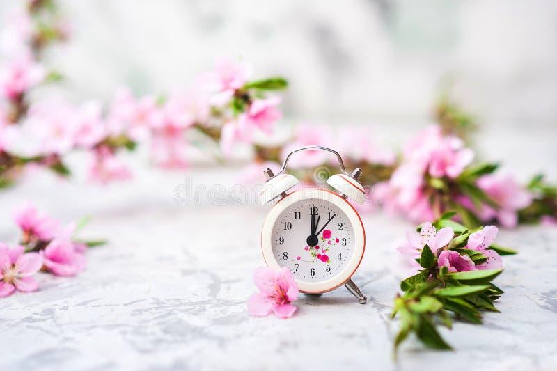 Concepto del flor de la primavera Reloj, primer del ?rbol de florecimiento y espacio miniatura de la copia Textura natural rosada foto de archivo libre de regalías