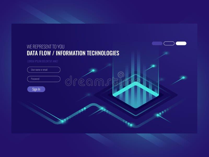 Concepto del flujo de datos, tecnologías de la información, concepto de vector isométrico de alta tecnología stock de ilustración