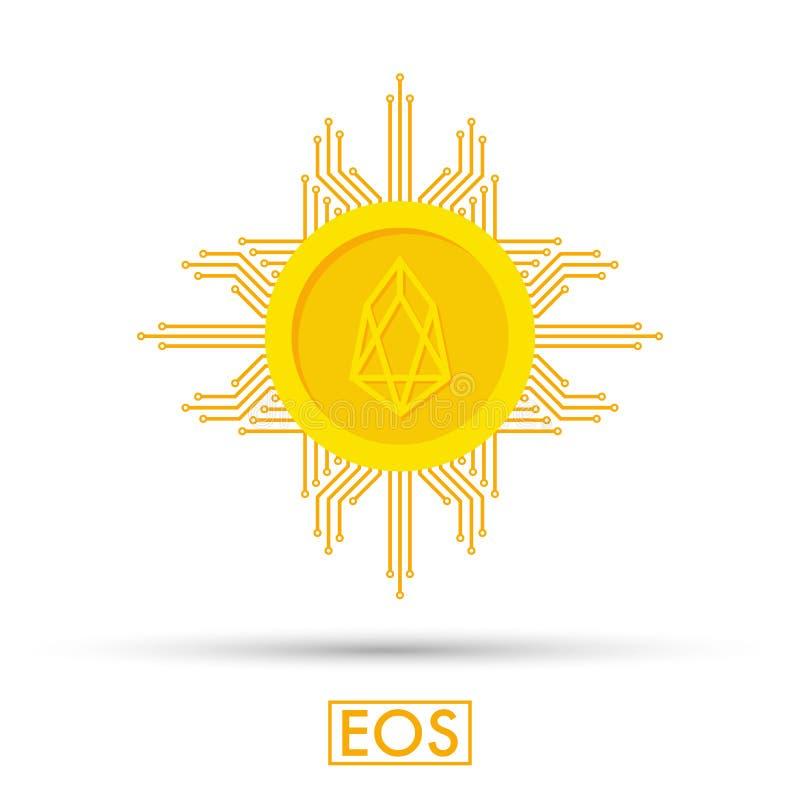 Concepto del FOE Muestra del logotipo de Cryptocurrency Dinero de Digitaces Cadena de bloque, símbolo de las finanzas Ejemplo pla ilustración del vector
