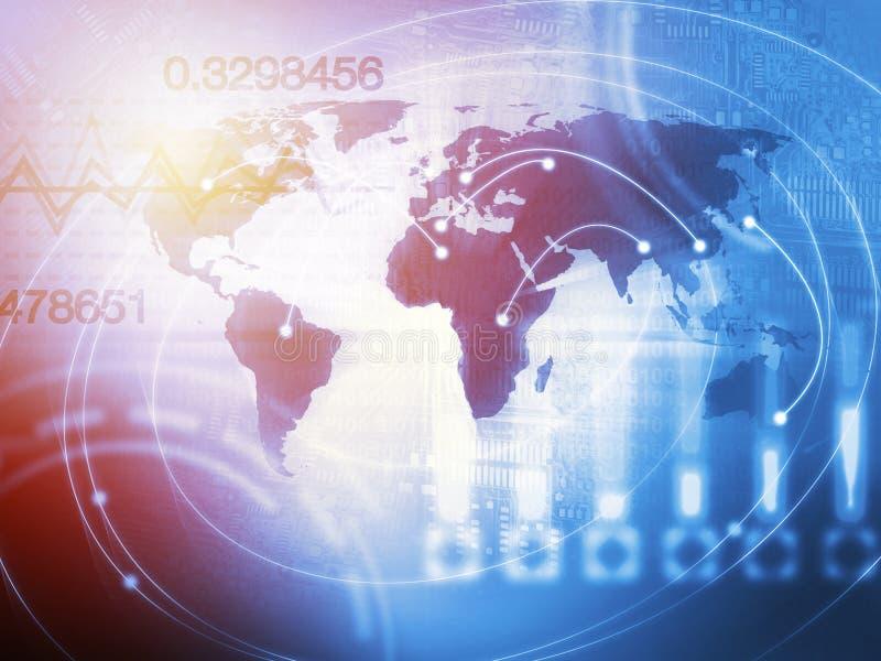 Concepto del fondo del comercio mundial en azul imagen de archivo libre de regalías