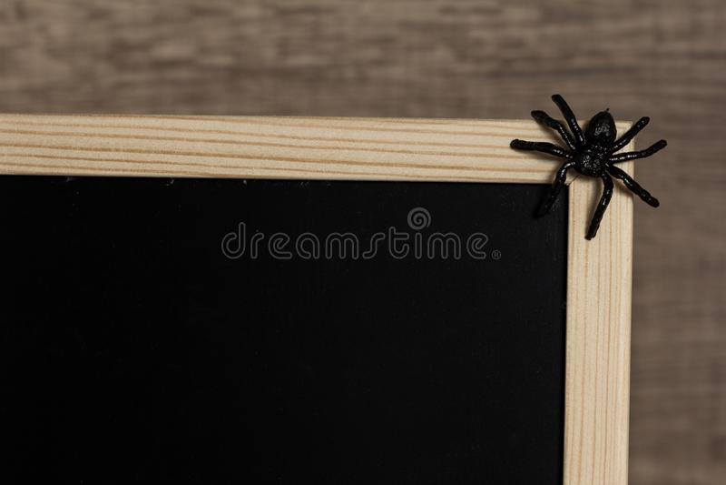 Concepto del fondo de Halloween Detalle de la pizarra y del spi negro imágenes de archivo libres de regalías