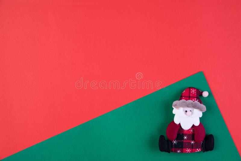 Concepto del fondo de la Navidad Vista superior de la decoración de Papá Noel fotografía de archivo