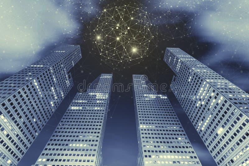 Concepto del fondo de la tecnología de la conexión Alto edificio moderno yo foto de archivo libre de regalías
