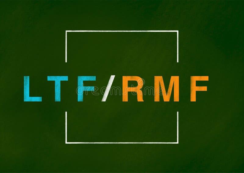 Concepto del fondo de LTF y de RMF stock de ilustración