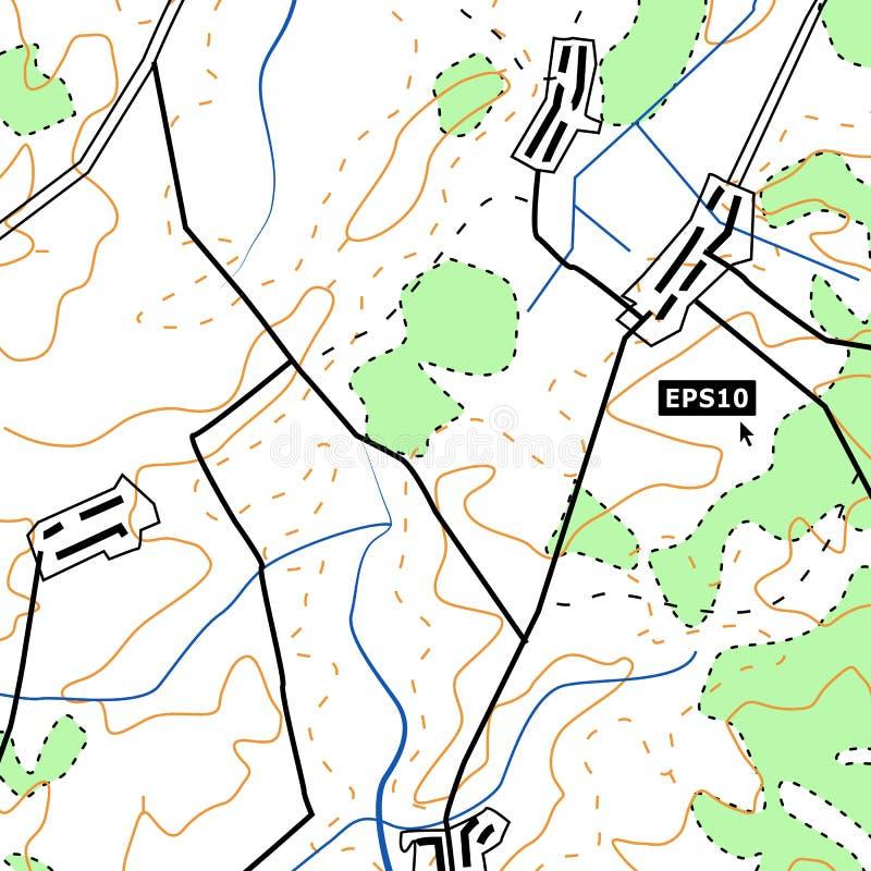Concepto del fondo del mapa topográfico con los caminos, bosques, acuerdos, contornos del alivio Gráfico de vector de la cartogra stock de ilustración