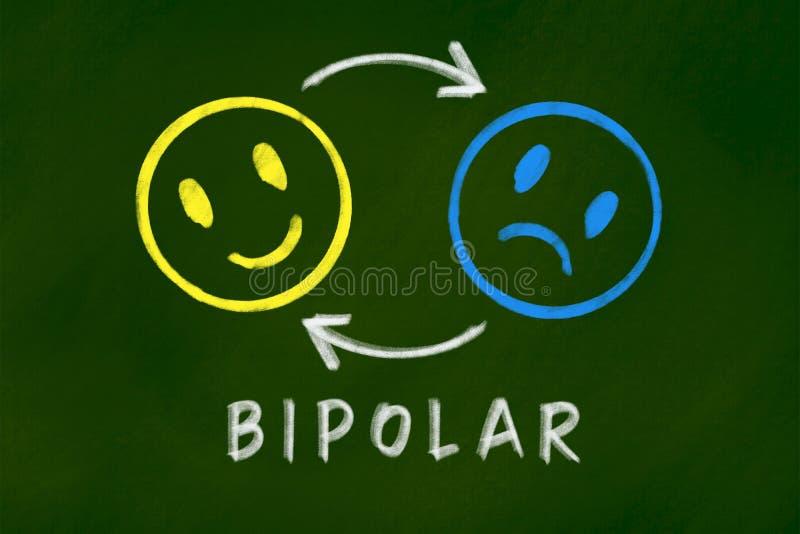 Concepto del fondo del desorden bipolar en la pizarra verde fotografía de archivo