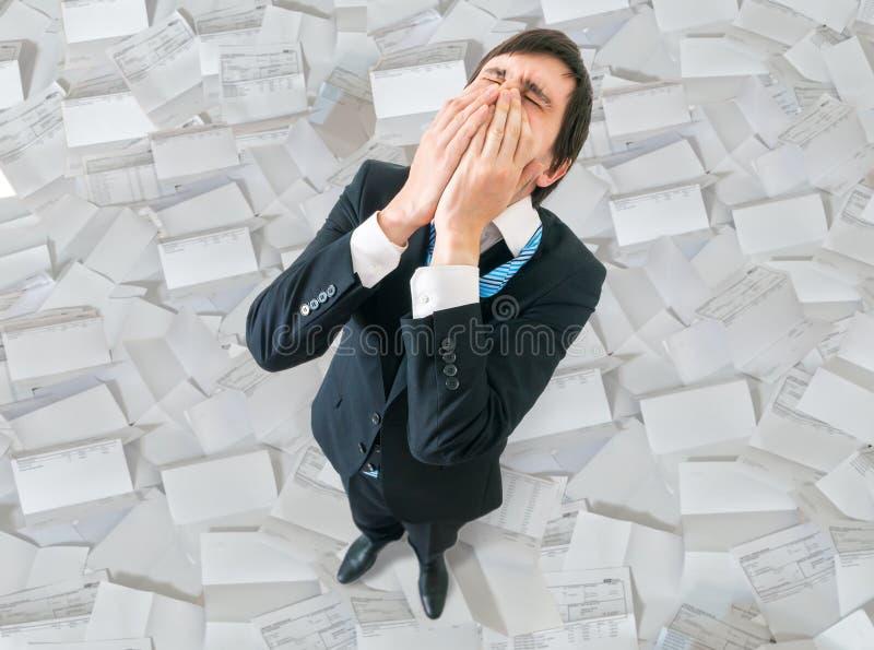 Concepto del fracaso y de la decepción Hombre de negocios infeliz del top fotografía de archivo libre de regalías