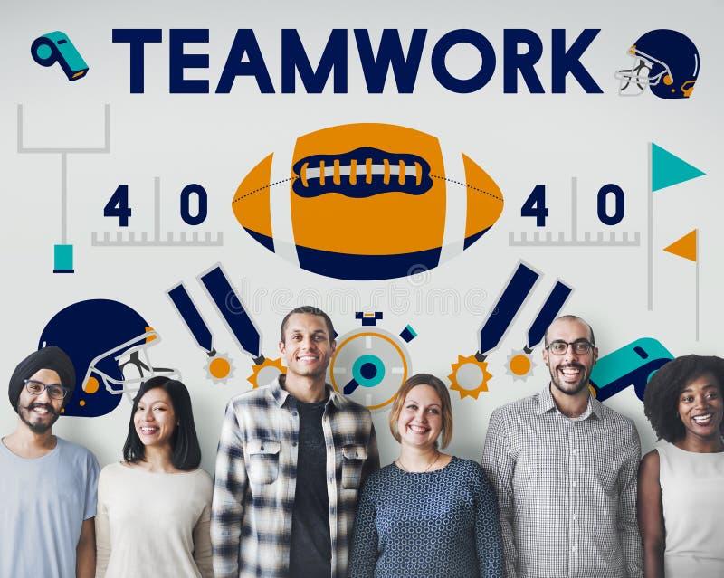 Concepto del ganador del trabajo en equipo del entrenamiento del ejercicio de la aptitud del deporte de la liga foto de archivo libre de regalías