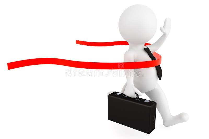 Concepto del ganador. hombre de negocios de la persona 3d que cruza al lin de acabado ilustración del vector