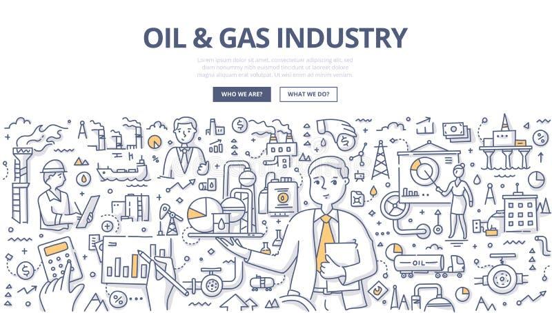 Concepto del garabato del aceite y de la industria petrolera ilustración del vector
