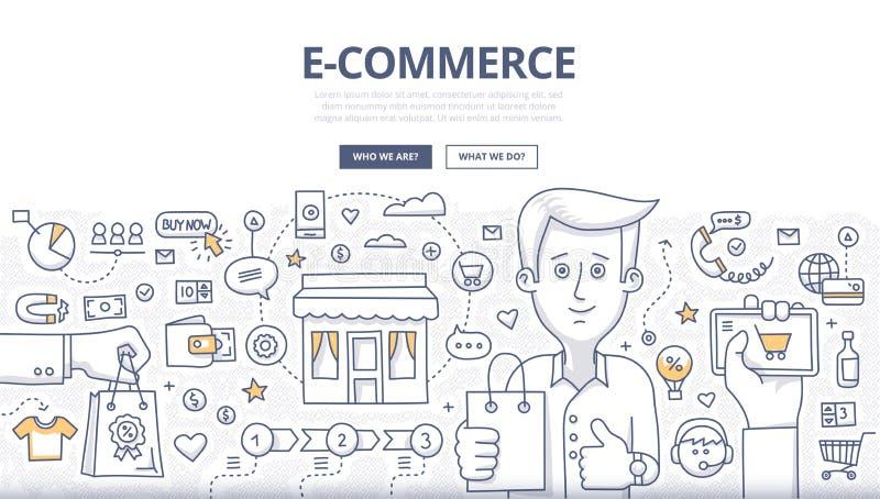 Concepto del garabato de E-comerce ilustración del vector