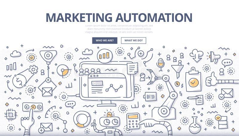 Concepto del garabato de la automatización del márketing libre illustration