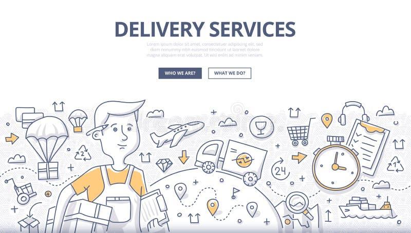 Concepto del garabato de la entrega stock de ilustración