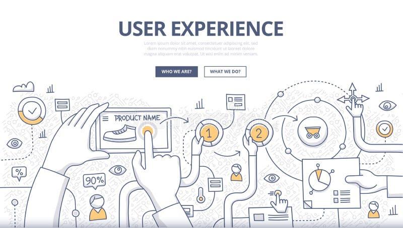 Concepto del garabato de la experiencia del usuario stock de ilustración