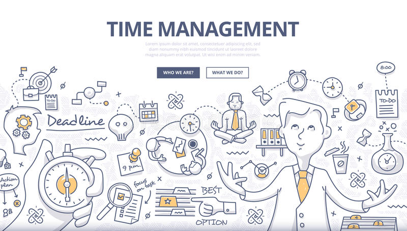 Concepto del garabato de la gestión de tiempo stock de ilustración