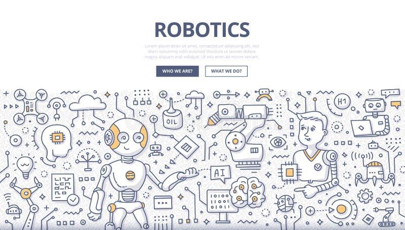 Concepto del garabato de la robótica stock de ilustración