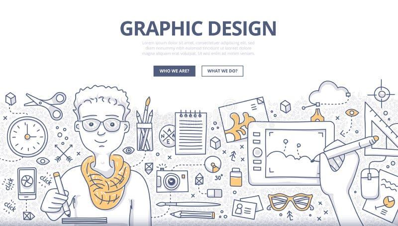 Concepto del garabato del diseño gráfico libre illustration