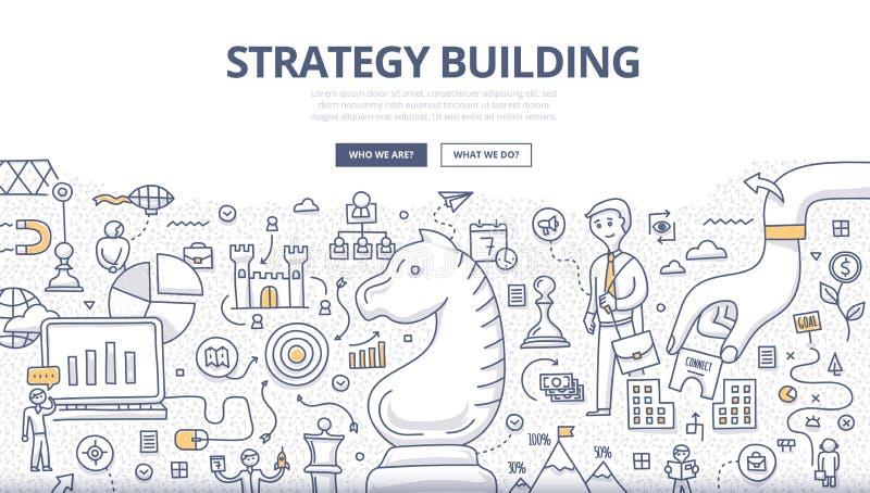 Concepto del garabato del edificio de la estrategia ilustración del vector