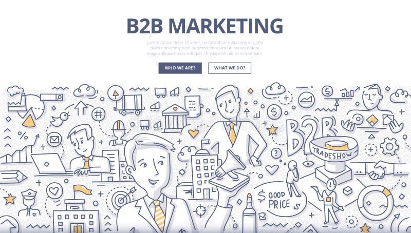 Concepto del garabato del márketing de B2B ilustración del vector