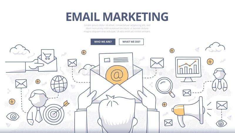 Concepto del garabato del márketing del correo electrónico ilustración del vector