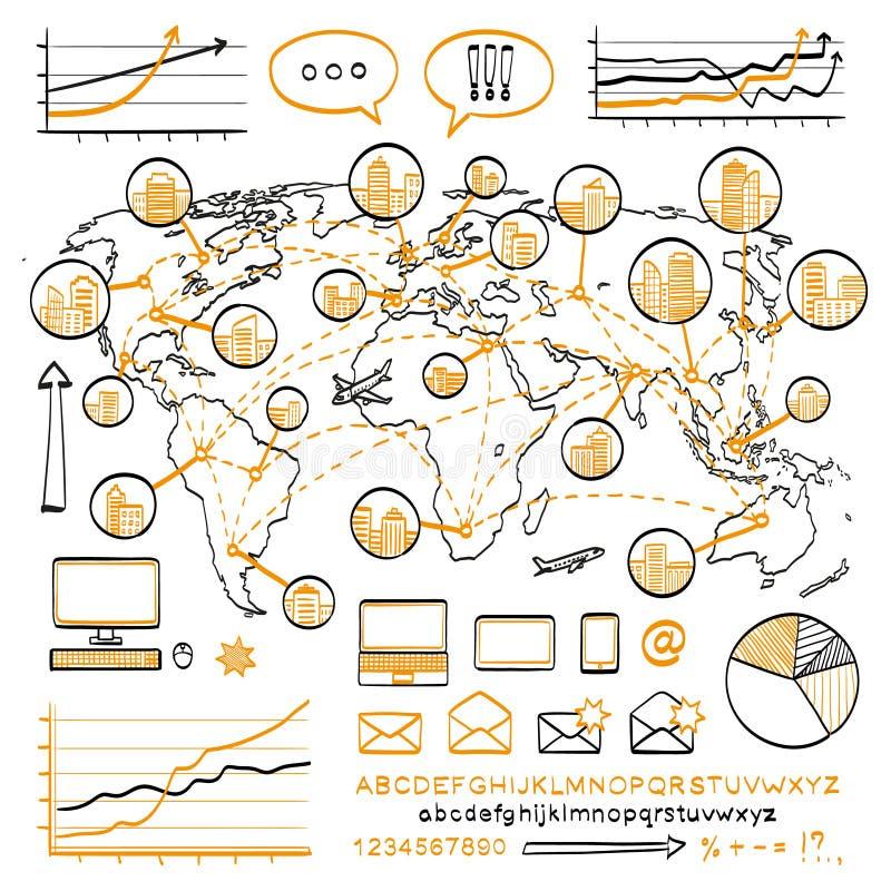 Concepto del garabato del negocio ilustración del vector