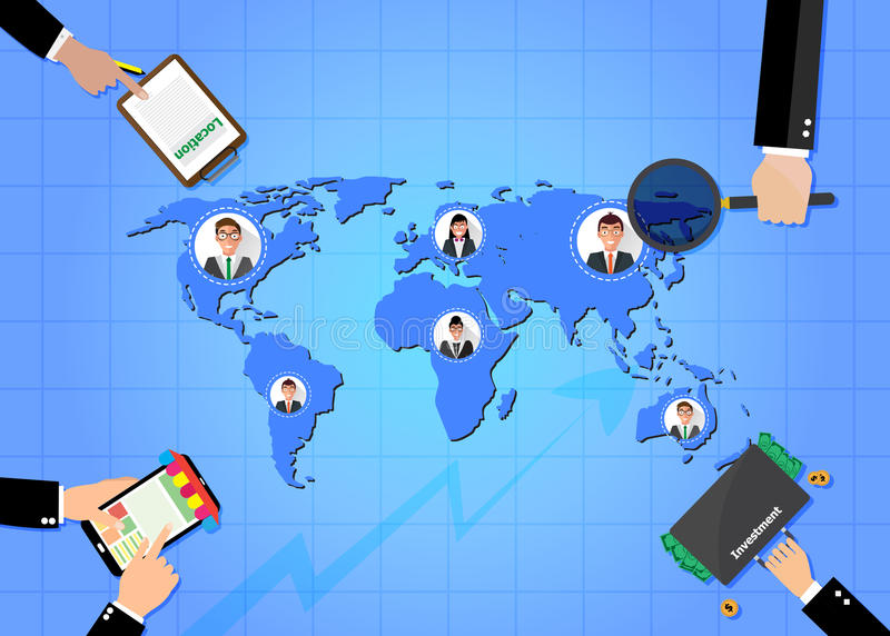 Concepto del garabato del negocio Gente de conexión Asunto global stock de ilustración