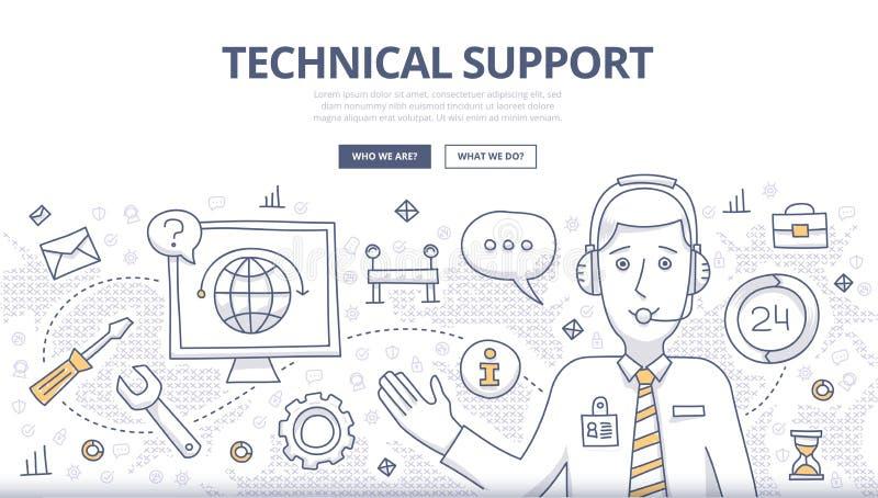 Concepto del garabato del soporte técnico libre illustration