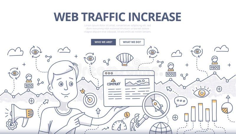 Concepto del garabato del tráfico del web stock de ilustración