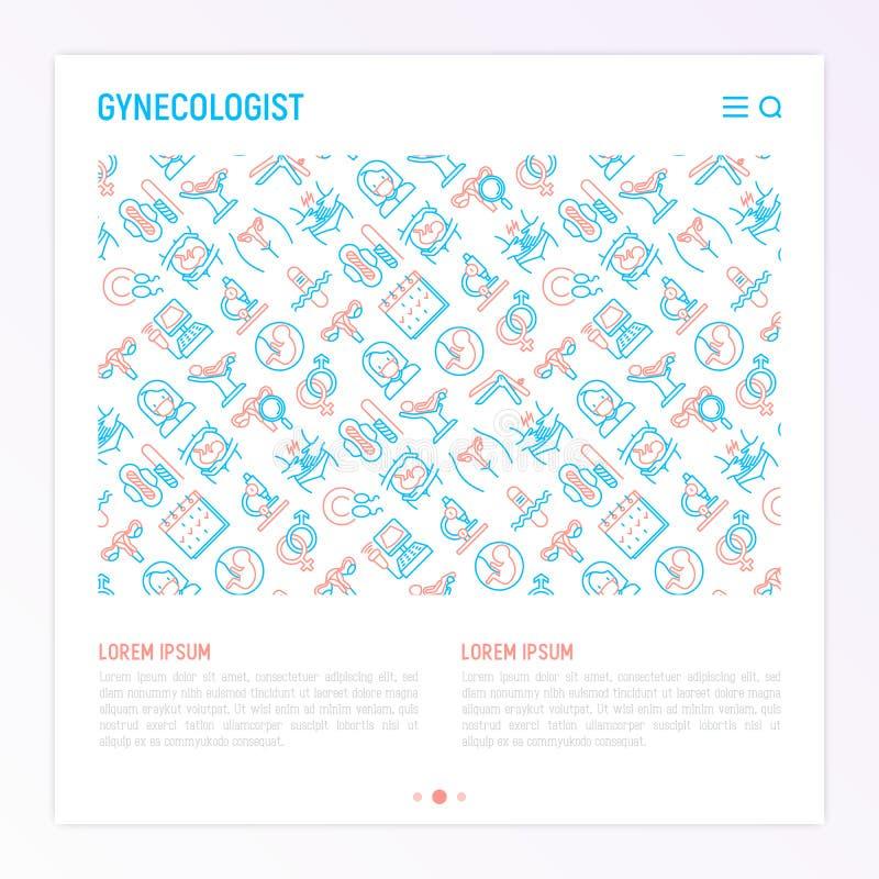 Concepto del ginecólogo con la línea fina iconos stock de ilustración