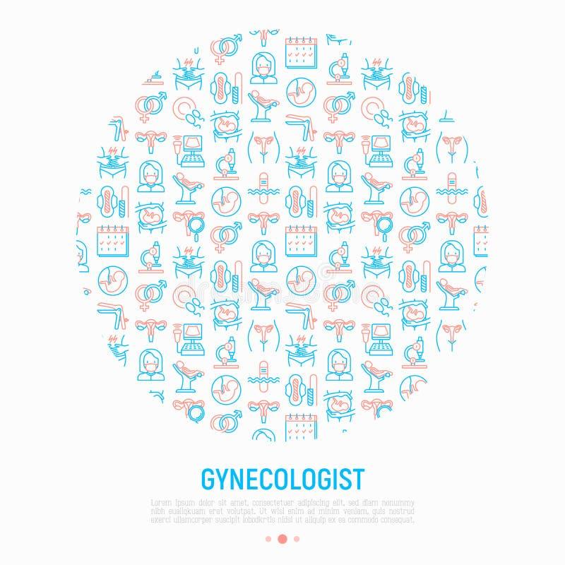 Concepto del ginecólogo en círculo libre illustration