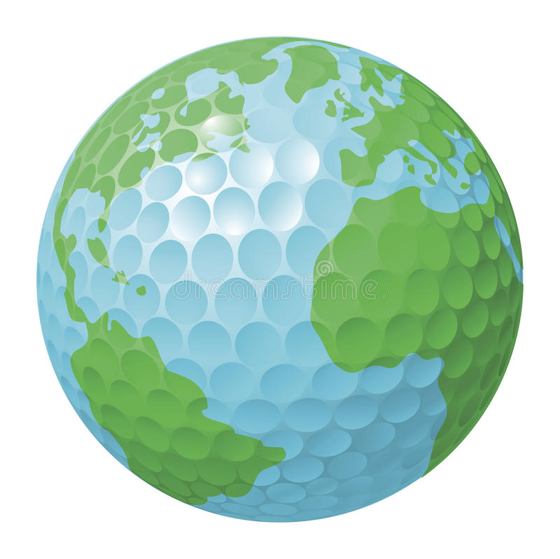 Concepto del globo del mundo de la pelota de golf libre illustration