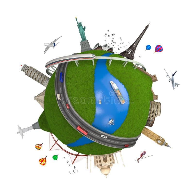 Concepto del globo del recorrido del mundo aislado libre illustration