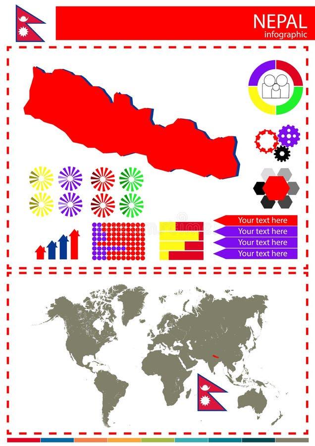 Concepto del gráfico de la bandera del mapa del país de Nepal del vector stock de ilustración