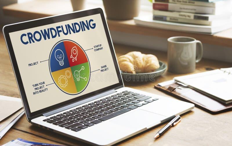 Concepto del gráfico de la empresa del plan de Rocketship del bulbo de Crowdfunding fotos de archivo libres de regalías