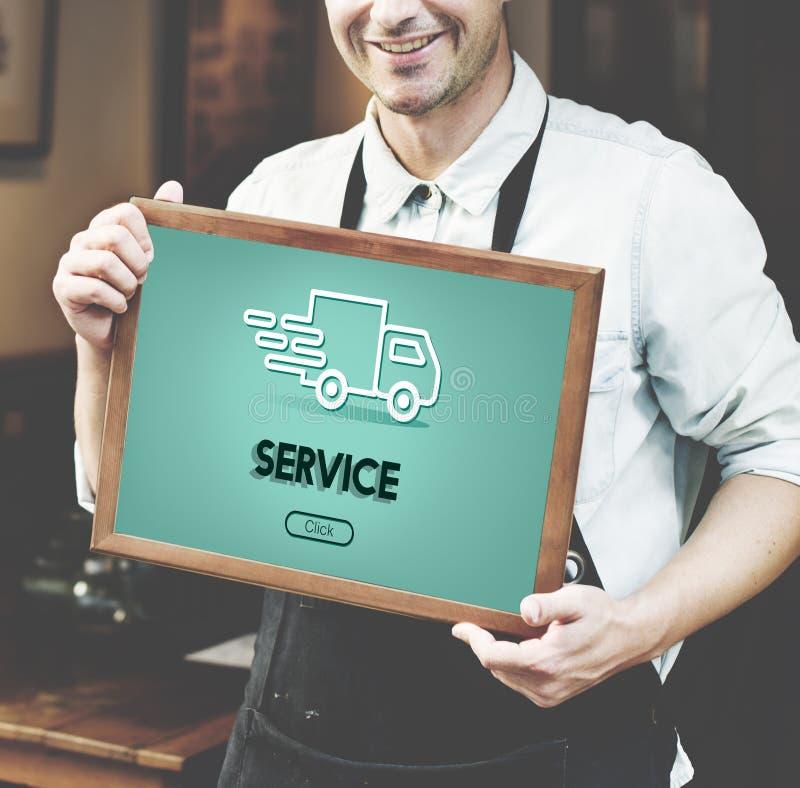 Concepto del gráfico del camión del envío de las importaciones/exportaciones imagen de archivo