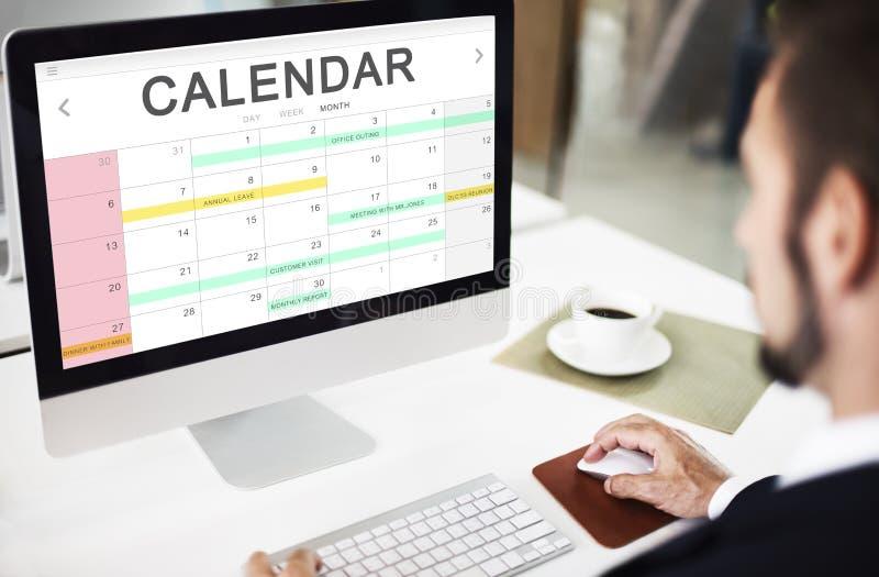 Concepto del gráfico del horario del recordatorio de la reunión del evento del orden del día del calendario imagen de archivo libre de regalías