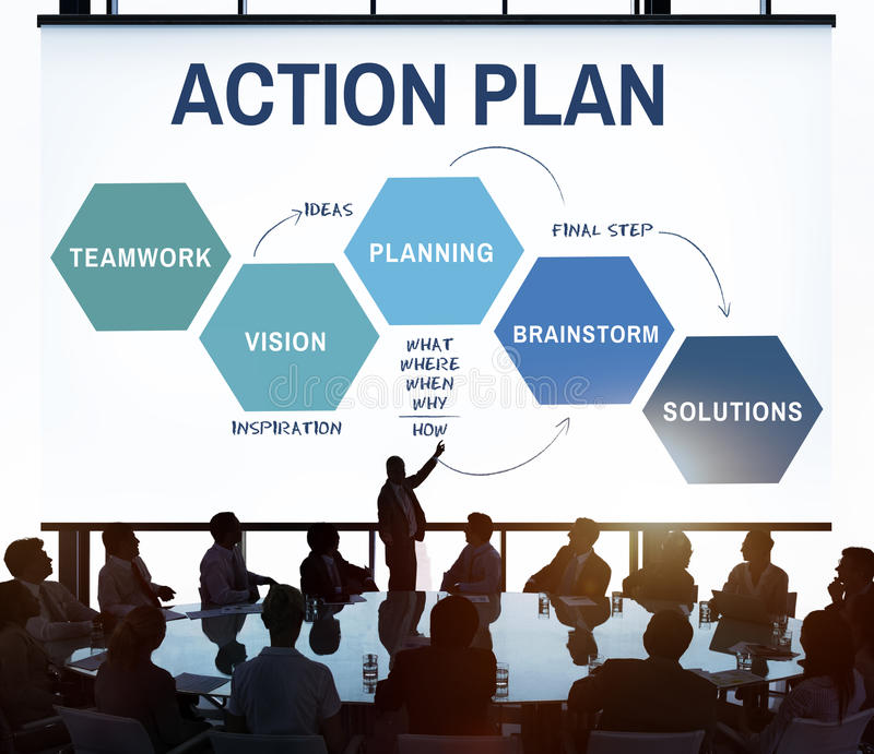 Concepto del gráfico del proceso de desarrollo de la estrategia del plan empresarial imagen de archivo libre de regalías