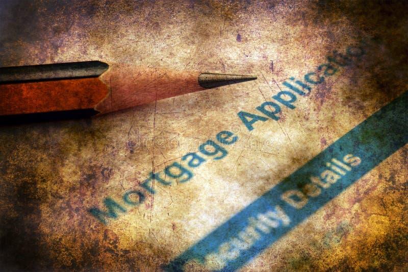 Concepto del grunge de la solicitud de hipoteca imagen de archivo libre de regalías