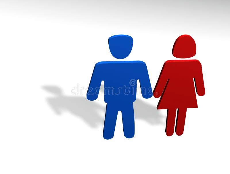 Concepto del hombre y de la mujer stock de ilustración