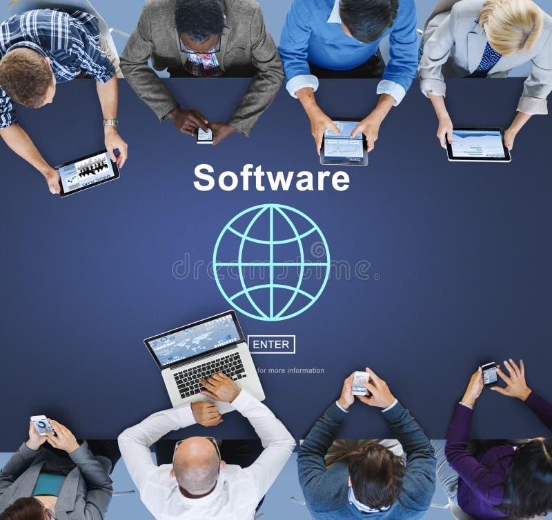 Concepto del homepage de los datos de Digitaces del ordenador del software fotografía de archivo