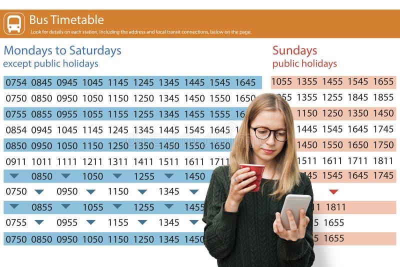 Concepto del horario de autobús del transporte del transporte público foto de archivo libre de regalías