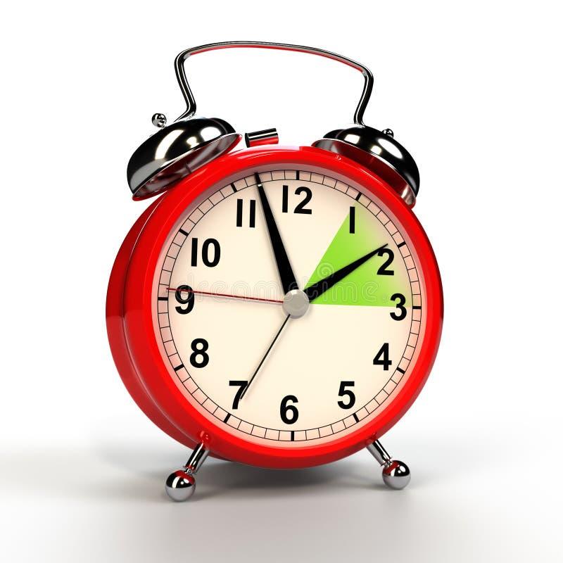 Concepto del horario de verano Reloj de alarma aislado en el fondo blanco ilustración del vector