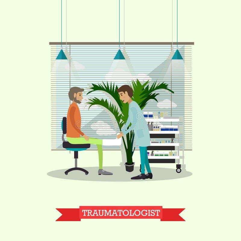 Concepto del hospital El Traumatologist proporciona el control médico para arriba para el paciente Interior del gabinete del doct ilustración del vector