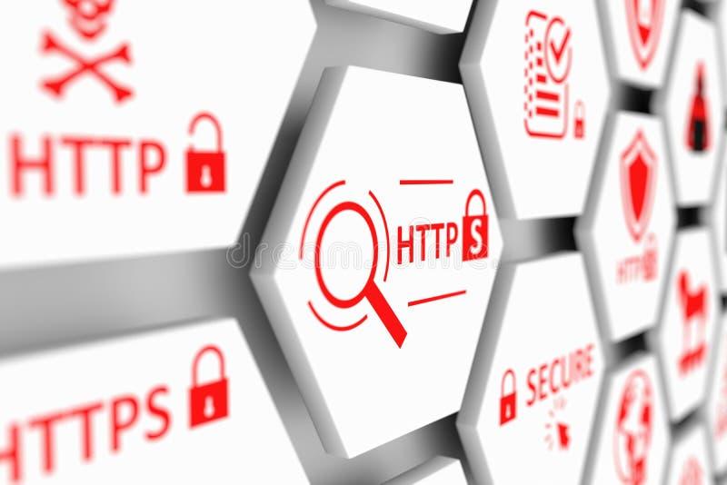 Concepto del HTTPS ilustración del vector